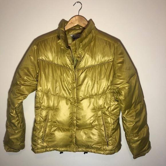 Retro Metallic Gold Columbia Puffer Jacket